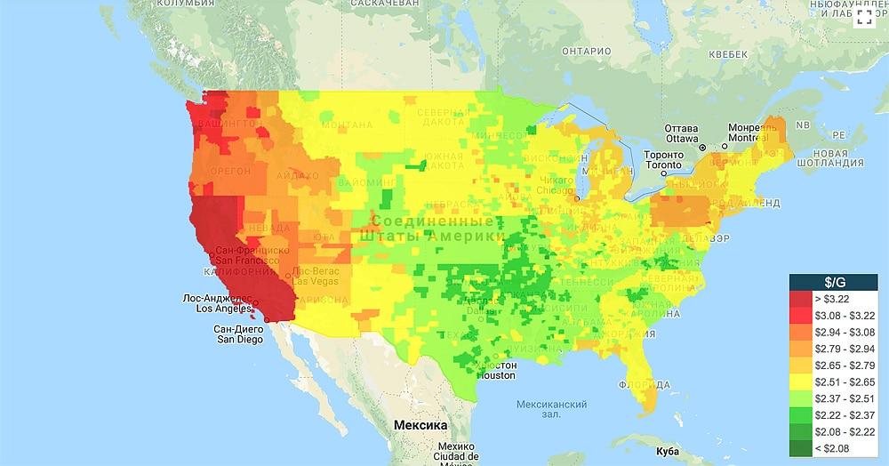 Карта-цен-на-бензин-в-США