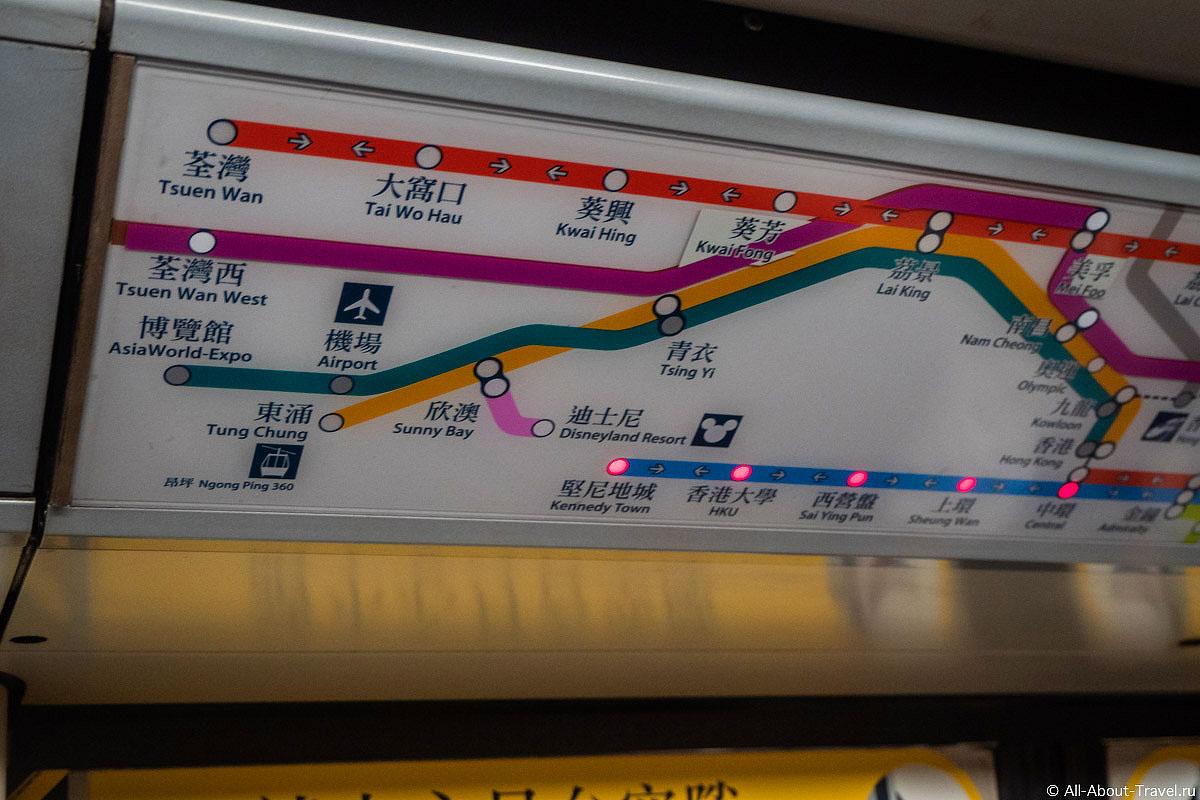 Оранжевая ветка метро Гонконга, по которой можно добраться до аэропорта
